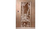 Дверь для сауны Мишки Бронза стекло